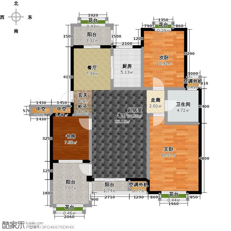 金石明珠112.00㎡H户型 3室2厅1卫 112㎡户型