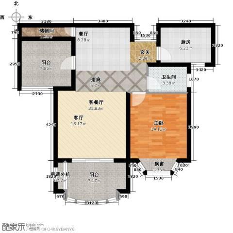 大名城1室1厅1卫1厨85.00㎡户型图