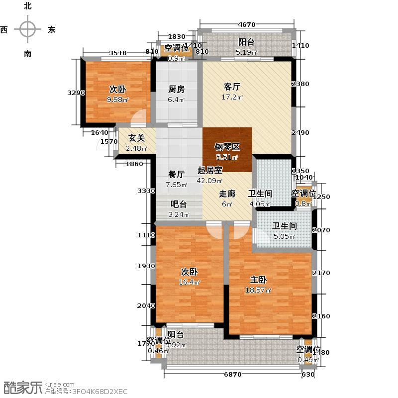 银河湾第1城139.30㎡25#E2户型3室2厅2卫
