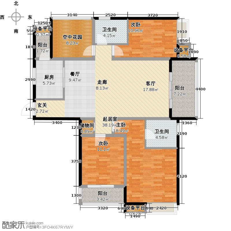 绿都万和城136.00㎡3A3房2厅2卫户型3室2厅2卫