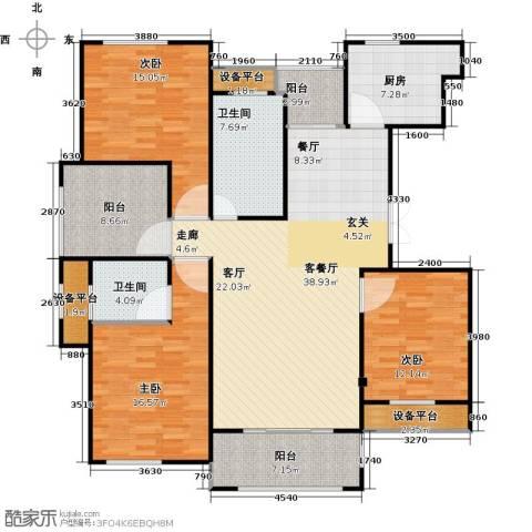 映像江南3室1厅2卫1厨136.00㎡户型图