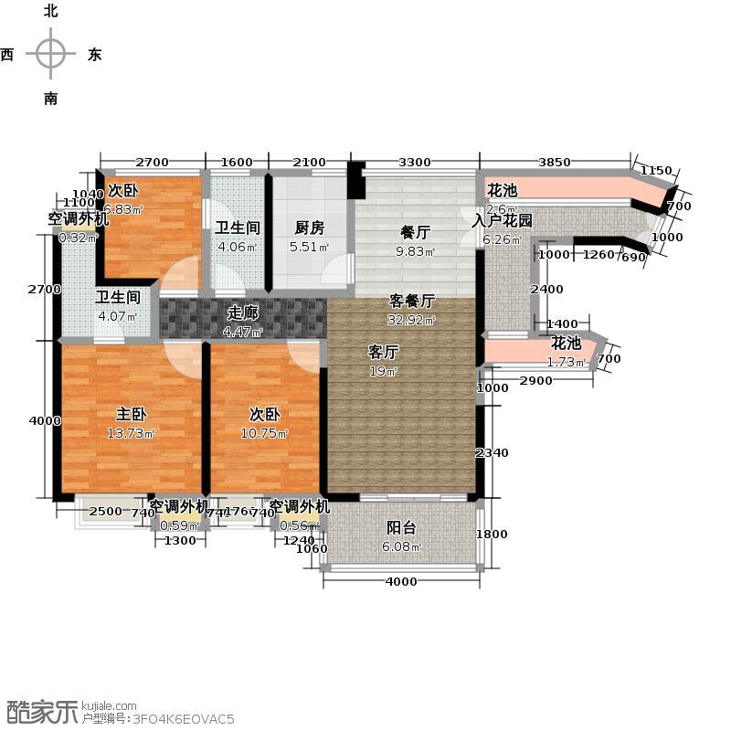 中惠璧珑湾6、8号楼标准层户型3室1厅2卫1厨
