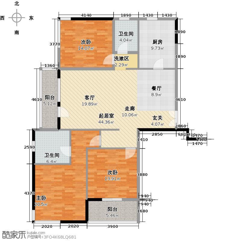 凯纳华侨城136.20㎡6号楼三房两厅两卫约136.2平户型3室2厅2卫
