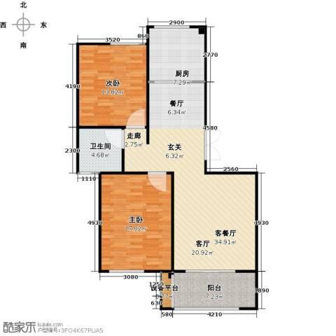 映像江南2室1厅1卫1厨92.00㎡户型图