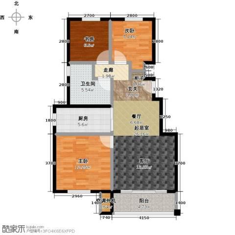 朗庭山3室0厅1卫1厨92.00㎡户型图