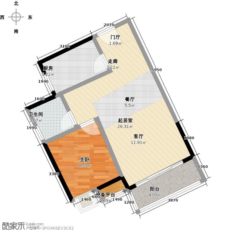 荔港南湾H4栋7-14层0户型1室1卫1厨