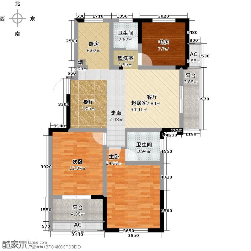 河海新邦F户型3室2厅2卫1厨108.00㎡户型