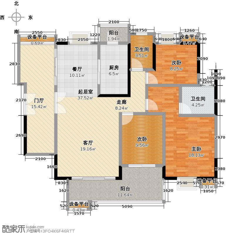 荔港南湾H6栋7-24层0户型3室2卫1厨