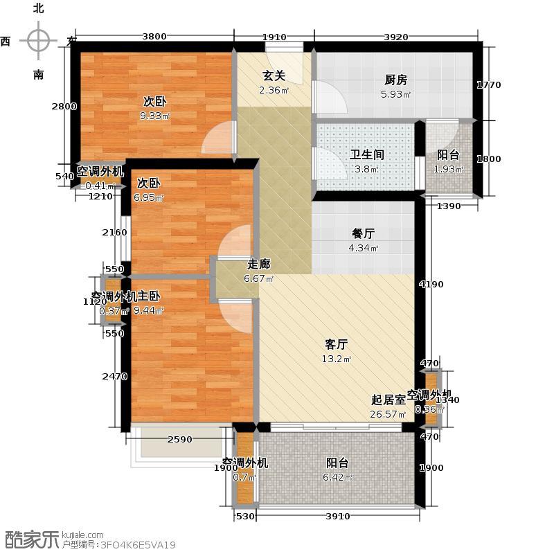 时代南湾三期8、9栋户型3室1卫1厨