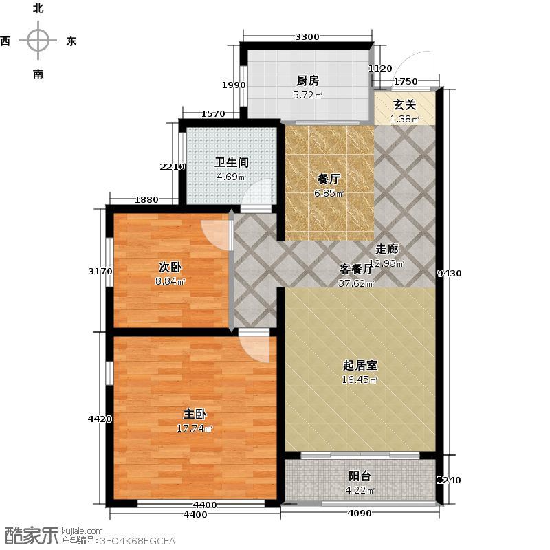 阳光100国际新城户型2室1厅1卫1厨