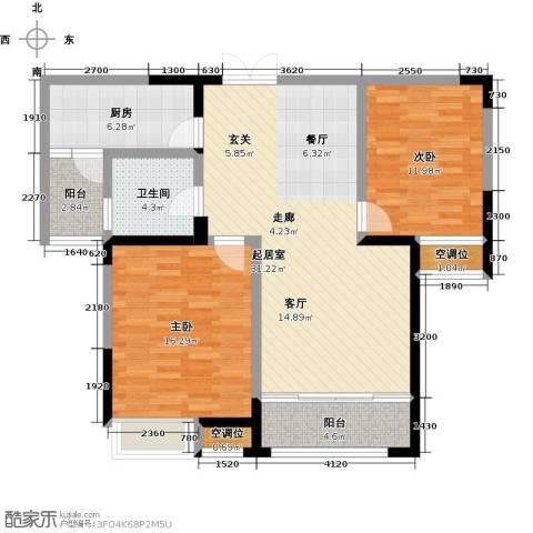 典雅花园2室0厅1卫1厨92.00㎡户型图