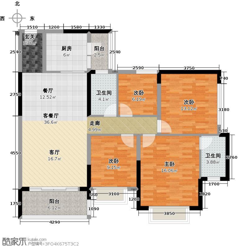 恒大银湖城3栋3-11层04户型4室1厅2卫1厨