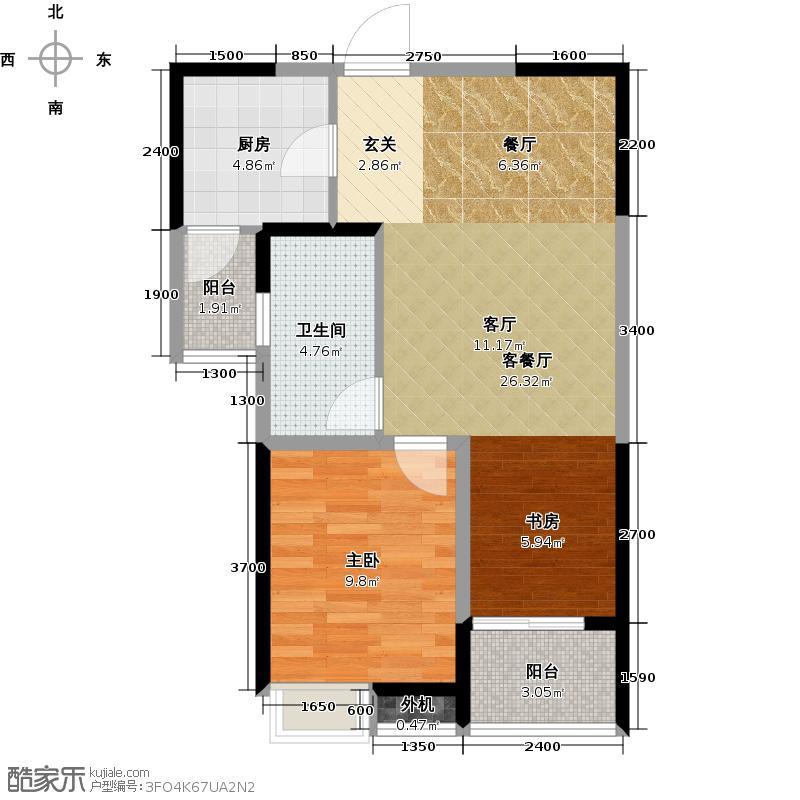 阳光100国际新城71.11㎡B1正内 两室两厅一卫户型2室2厅1卫