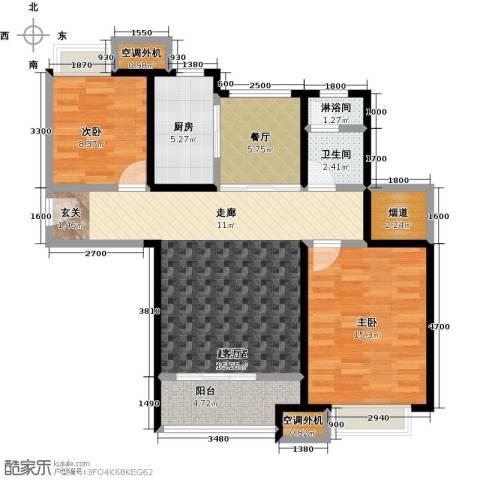华发新城2室1厅1卫1厨99.00㎡户型图