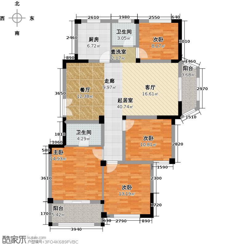 金美林花园136.00㎡A4户型4室2厅2卫136平米户型4室2厅2卫