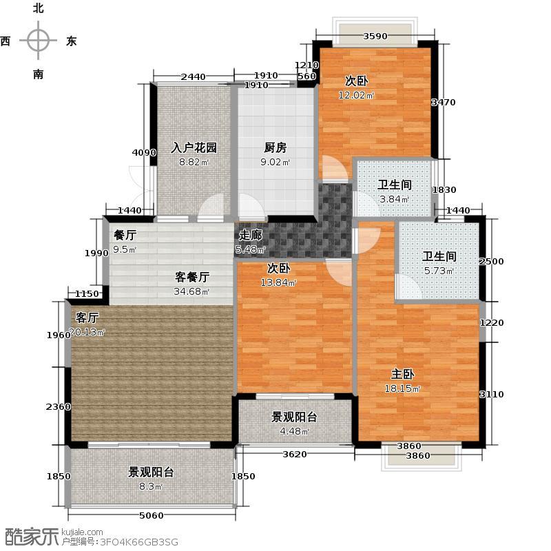 狮峰公馆4栋标准层02户型3室1厅2卫1厨