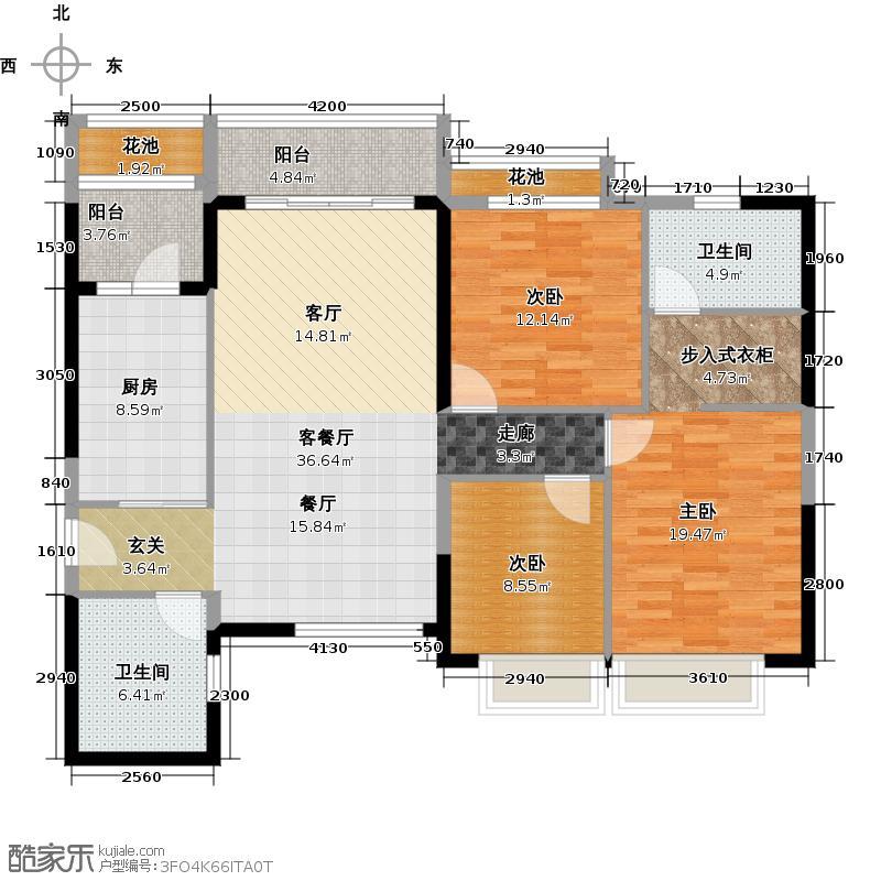 恒大银湖城9栋3-18层04户型3室1厅2卫1厨