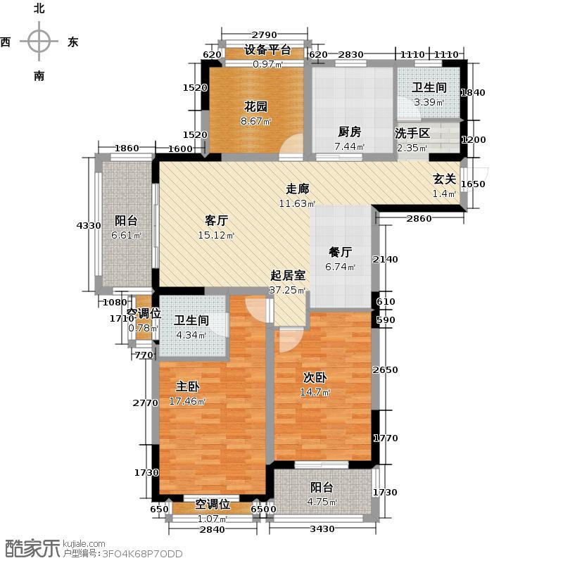银河湾第1城124.00㎡F1户型 三房两厅两卫户型3室2厅2卫