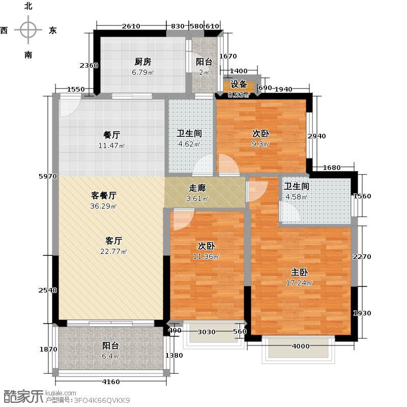 恒大银湖城7栋3-18层01户型3室1厅2卫1厨