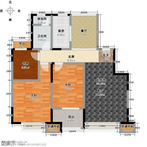 华发新城3室1厅1卫1厨114.00㎡户型图