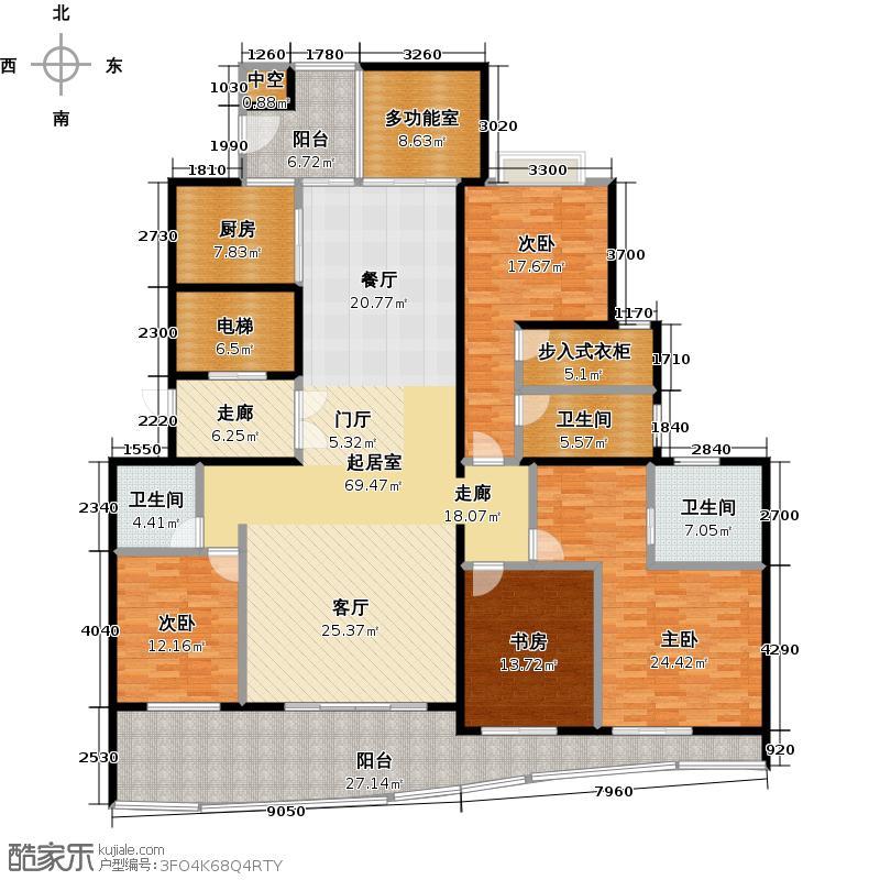 中信西关海250.00㎡2栋01房户型4室3厅2卫