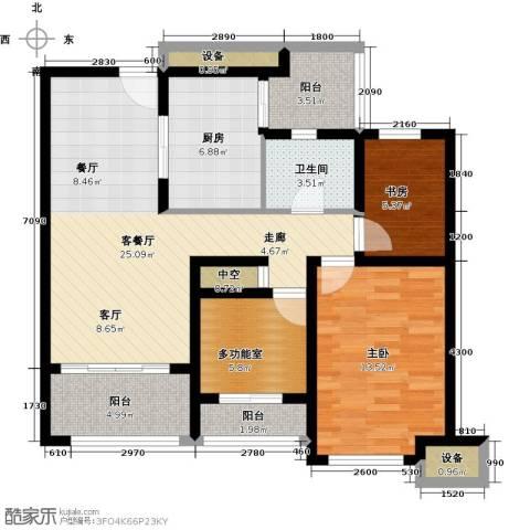 上书房2室1厅1卫1厨89.00㎡户型图