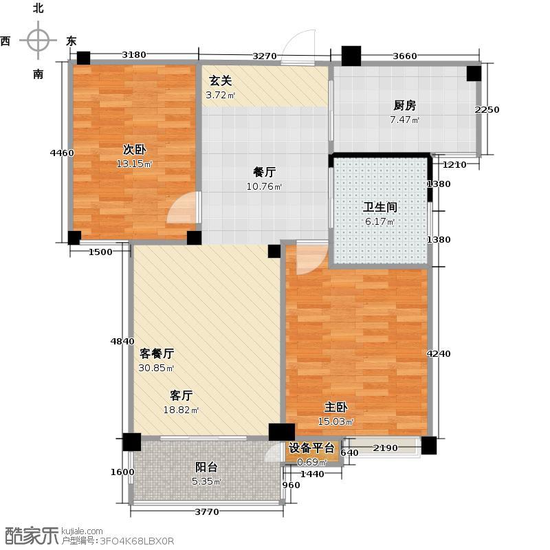 长宏名郡85.00㎡B户型两室两厅一卫户型2室2厅1卫