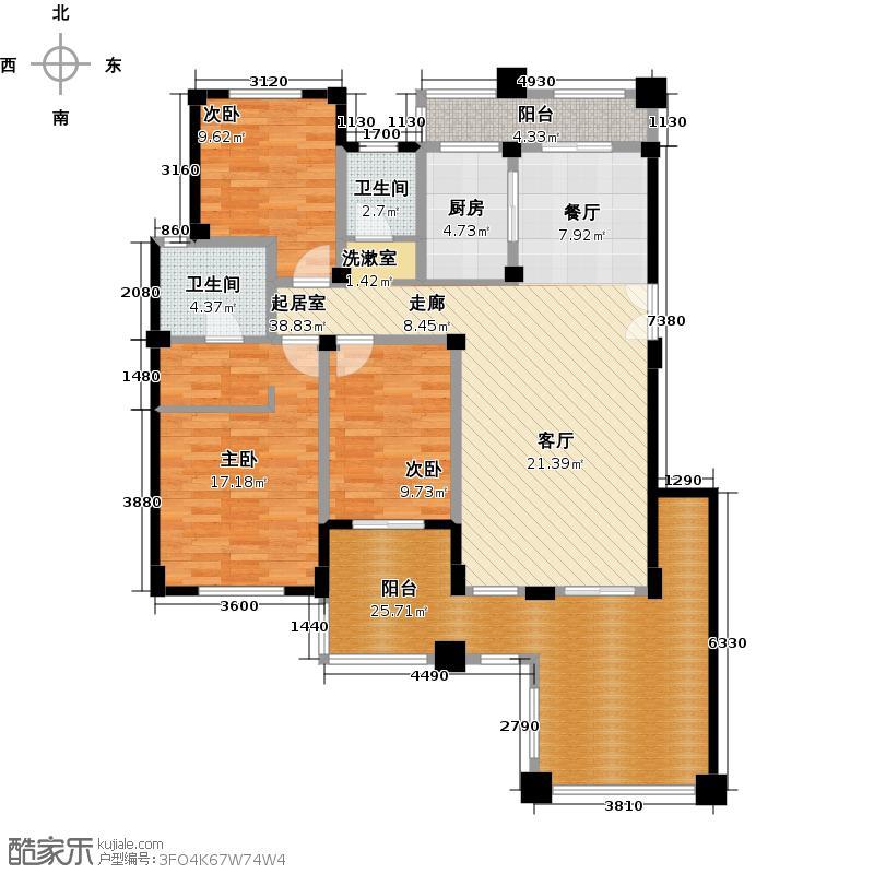 绿都万和城H2电梯洋房二层户型3室2厅2卫