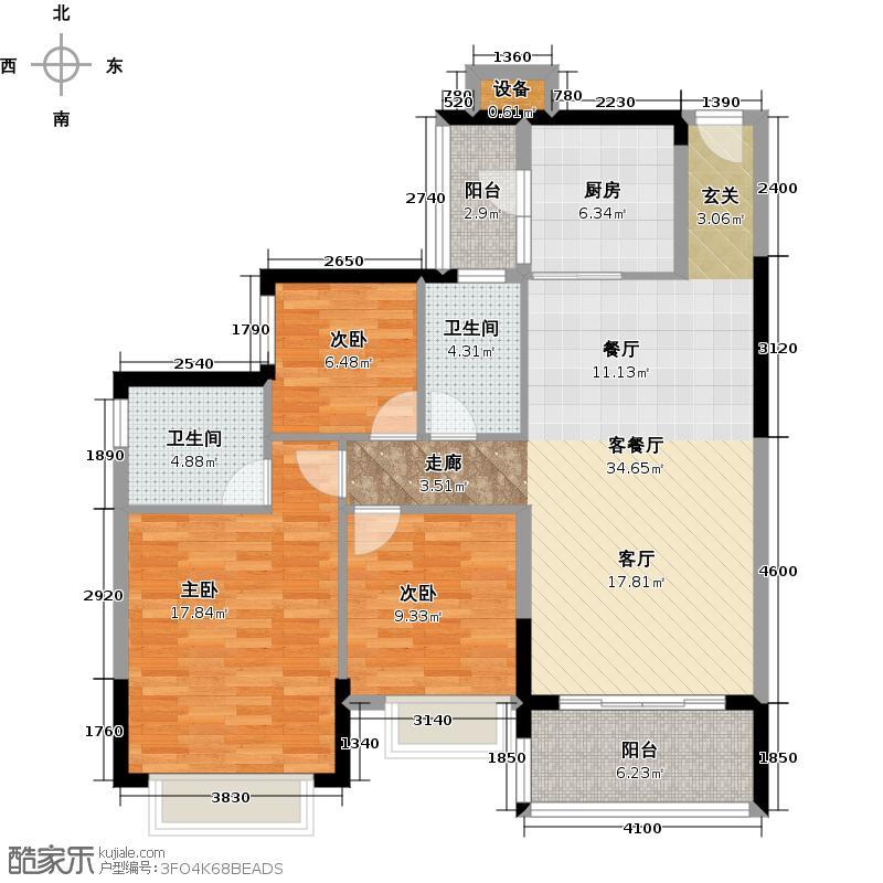 恒大银湖城3栋3-11层05户型3室1厅2卫1厨