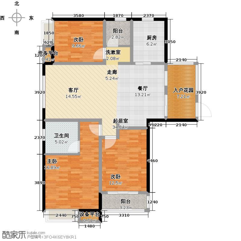 绿都万和城121.19㎡3C三房二厅二卫+入户花园户型3室2厅2卫