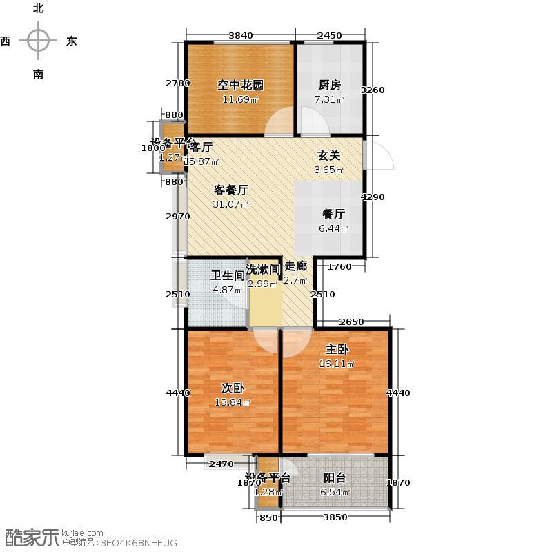 阳光福地101.15㎡二房二厅一卫-101.15平方米-56套户型