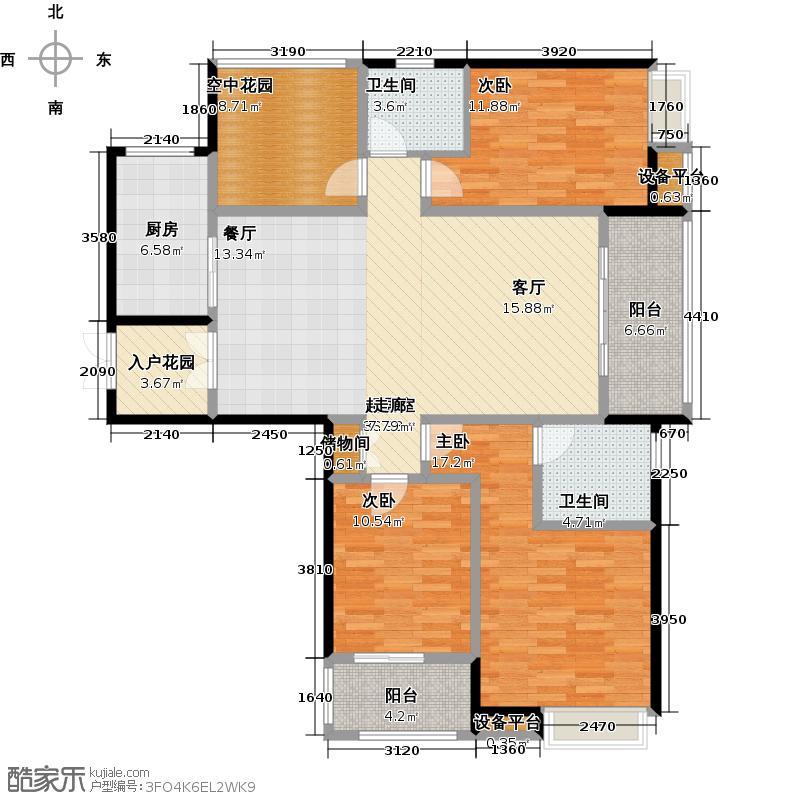绿都万和城132.00㎡3F3房2厅2卫户型3室2厅2卫