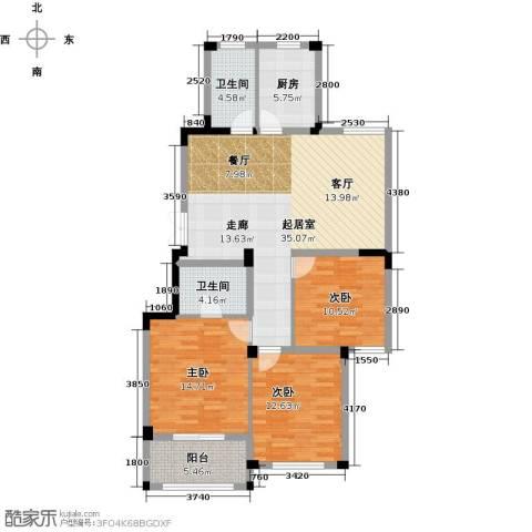 金美林花园3室0厅2卫1厨114.00㎡户型图