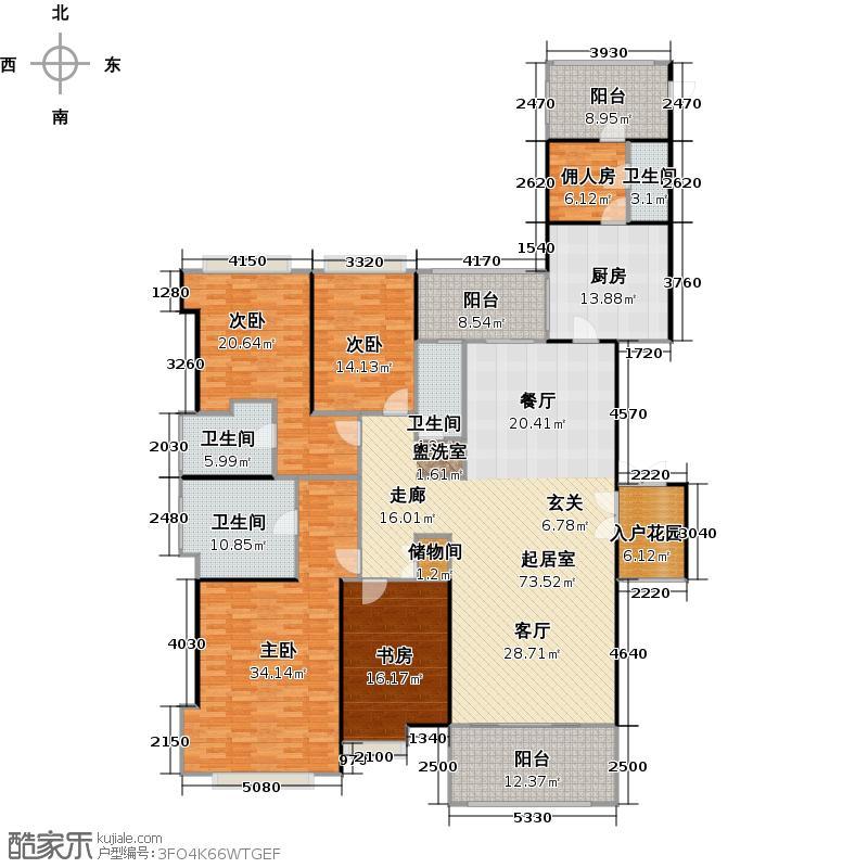 锦绣香江布查特官邸3期14栋A02户型4室4卫1厨