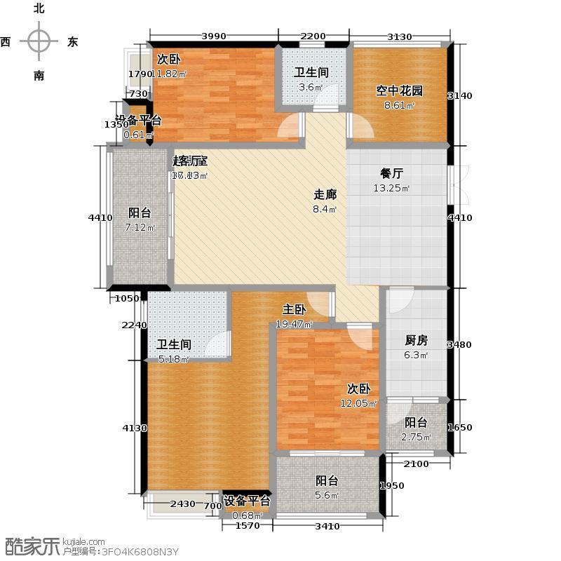 绿都万和城141.00㎡3G3房2厅2卫户型3室2厅2卫