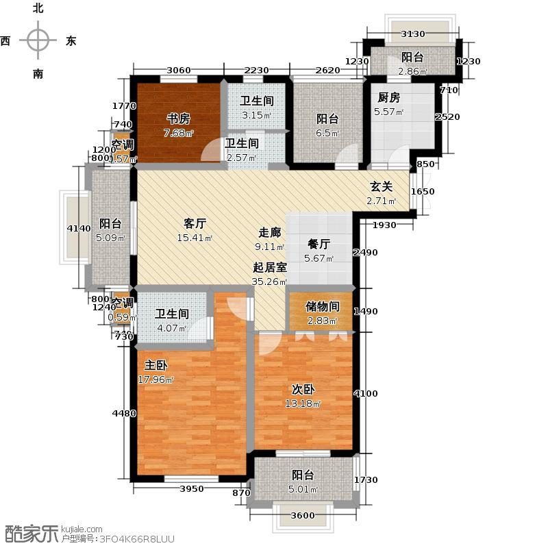 格兰艺堡128.65㎡二期爱琴湾户型图 3室2厅2卫户型3室2厅2卫