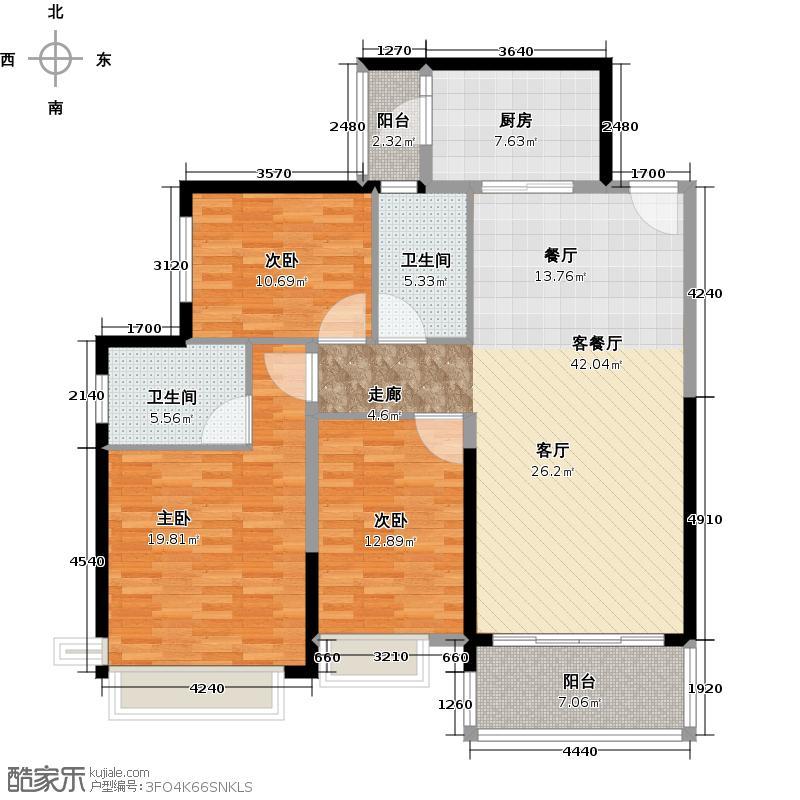 恒大银湖城9栋3-18层02户型3室1厅2卫1厨