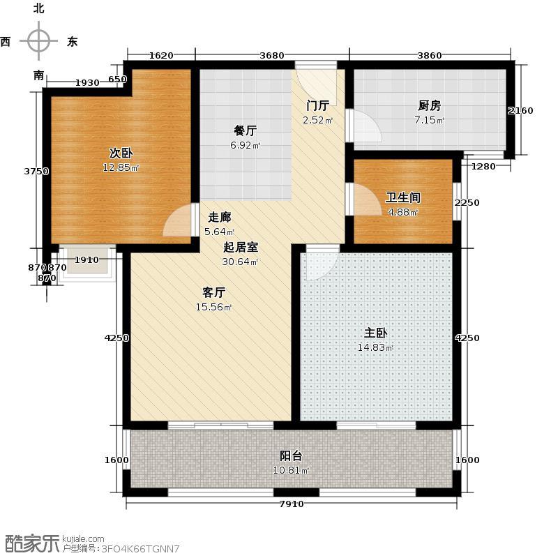 青枫壹号91.59㎡A户型2室2厅1卫户型2室2厅1卫