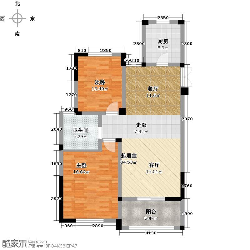金美林花园96.00㎡D3户型2房2厅1卫96平米户型2室2厅1卫