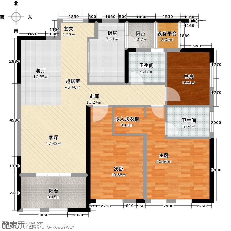 新城首府134.00㎡二期B户型3室2厅2卫