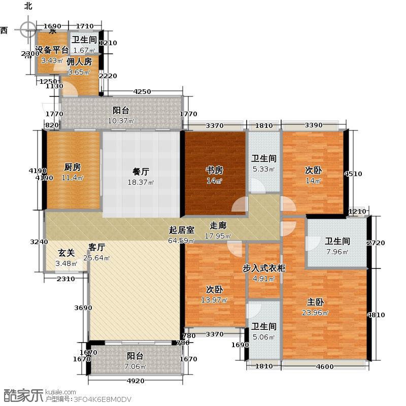 时代南湾13、15、16栋户型4室4卫1厨