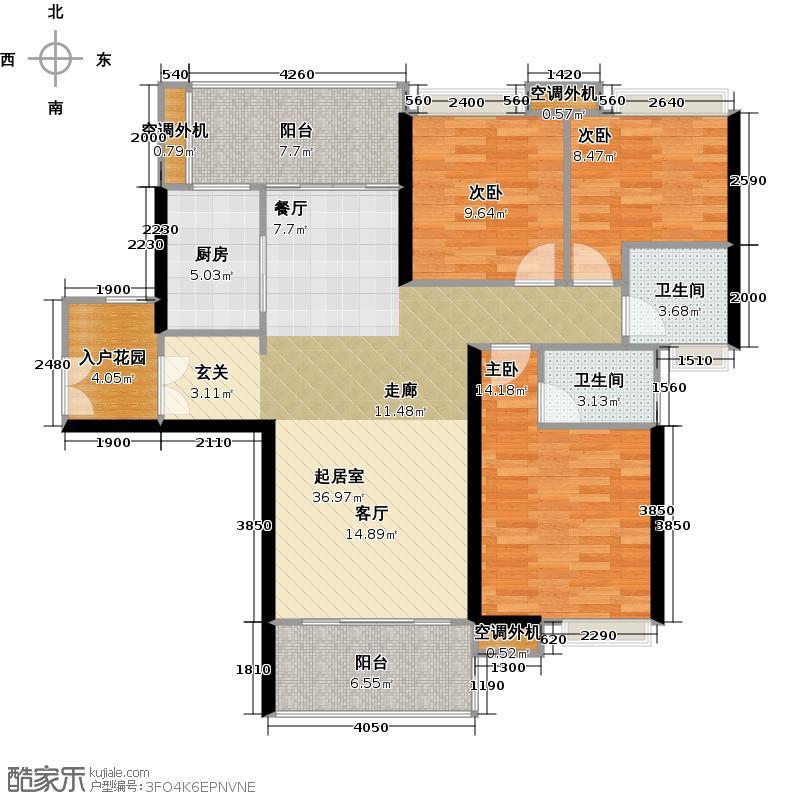 时代南湾三期8、9栋户型3室2卫1厨