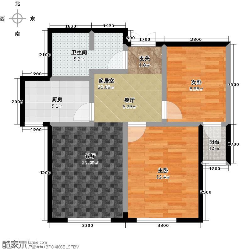 益凯蓝岸77.00㎡C户型 两室两厅一卫户型