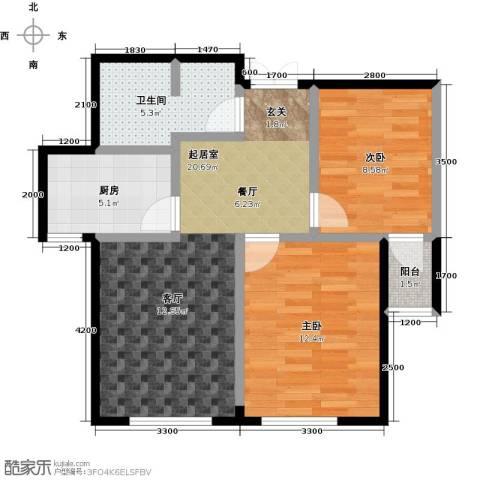 益凯蓝岸2室0厅1卫1厨77.00㎡户型图