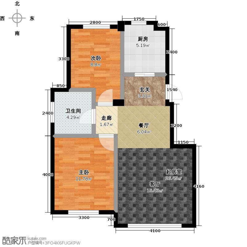 益凯蓝岸84.00㎡A户型 两室两厅一卫户型