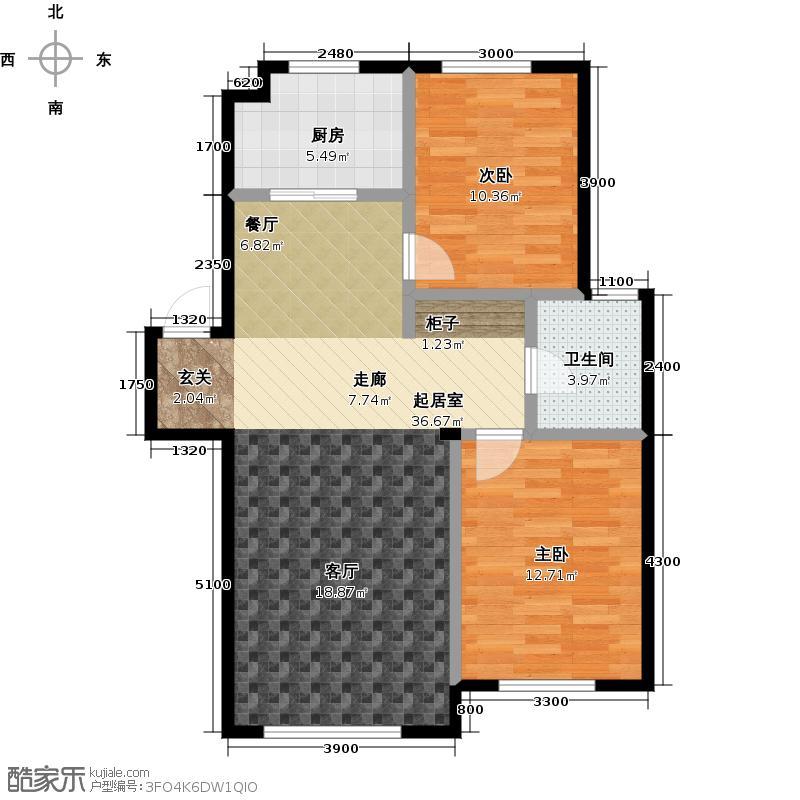 益凯蓝岸93.00㎡E户型 两室两厅一卫户型