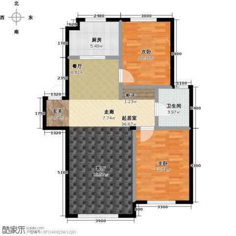 益凯蓝岸2室0厅1卫1厨93.00㎡户型图