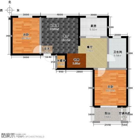 恒盛阳光美麓2室0厅1卫1厨92.00㎡户型图
