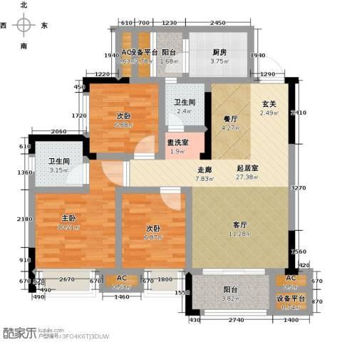 鸥鹏中央公园3室0厅2卫1厨87.00㎡户型图