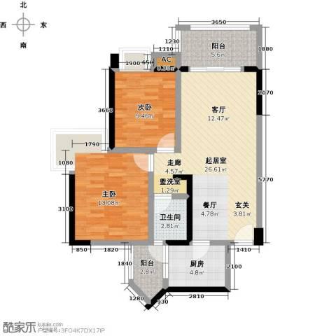 大信君汇湾2室0厅1卫1厨85.00㎡户型图